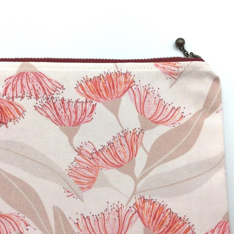 Gum blossom print cotton zipper pouch