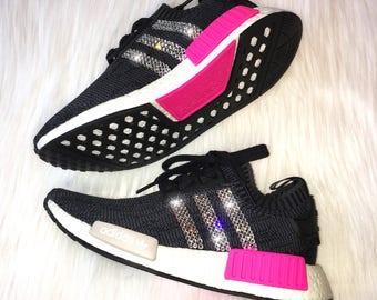 7485e179e Bling Adidas NMD R1 Primeknit with Swarovski Crystal Stripes- Black   Pink  Women s Shoes