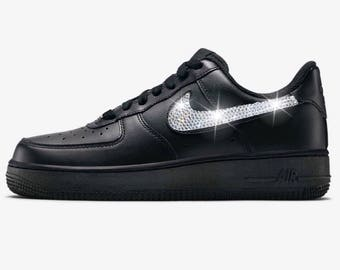 Bling Nike Air Force 1  07 with Swarovski Crystals   Black   Bedazzled  w 100% Authentic Swarovski Crystal Rhinestones 0e46bd333