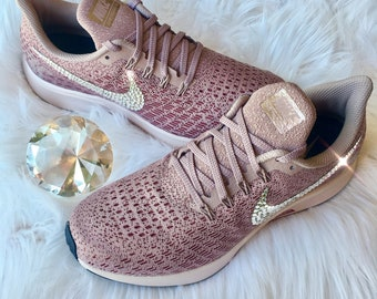 NEW Bling Nike Air Zoom Pegasus 35 Shoes with Swarovski Crystals   Rose Gold 64bc14d0709a