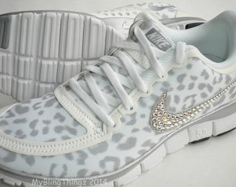 Swarovski Nike Free Run 5.0 V4 Bling Shoes - White Wolf Grey Metallic  Silver - Leopard Cheetah Print - Bedazzled with Swarovski Crystals 5b0e2dbf55