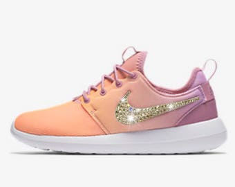 872031ed2ec20 ... wholesale bling nike roshe two breathe shoes with swarovski crystals  orange pink ombré white bedazzled by ...