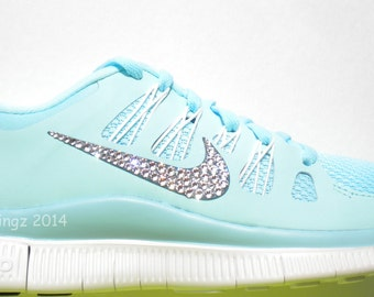 2a42aa644dbd Last One Size 7.5 - Bling Nike Free 5.0+ Shoes - Glacier Ice   Night Factor    Summit White - Bedazzled by hand with Swarovski Crystals