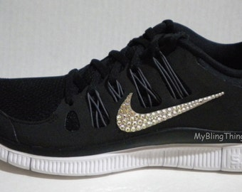 Nike Free 5.0+ Running Shoes - Black   Dark Grey   White   Metallic Silver  - Bedazzled with 100% Swarovski Crystals d5b53c63a