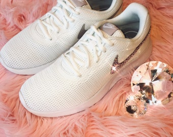 check out 938c2 6c874 ... good bling nike tanjun shoes with swarovski crystal detail white rose  with ab or rose gold