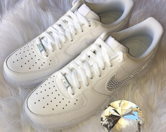 Bling Nike Air Force 1  07 with Swarovski Crystals   ALL White   Bedazzled  w 100% Authentic Swarovski Crystal Rhinestones AF1 526e67a03