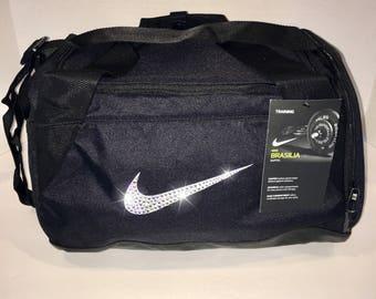 aa4809145a Bling Nike Brasilia Gym Bag with Swarovski Crystal Bedazzled Swoosh BLACK