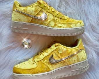 Bling Nike Air Force 1 LV8 Velvet Shoes with Swarovski Crystal Bedazzled  Swooshes   Mineral Gold 2a946358c