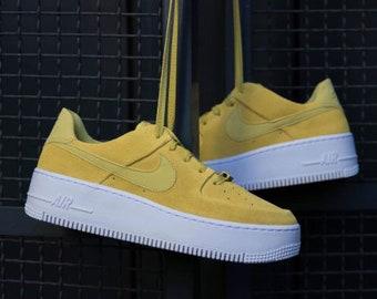 big sale f6604 0dbb7 Swarovski Nike AF 1 Sage XX Low Casual Shoes with SWAROVSKI® Crystal Detail    Bright Yellow - Celery   White
