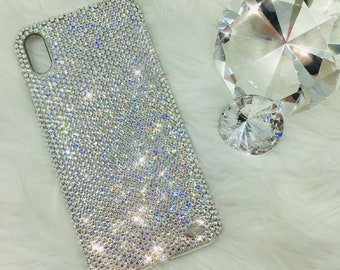 For iPhone Xs Max - Small 12ss Clear Crystal Diamond Rhinestone BLING Back  Case handmade with 100% real Swarovski Crystals e2c2c597a
