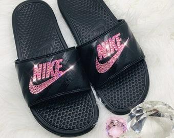83baf3c255d3 NEW Bling Nike Benassi JDI Slides with Swarovski Crystals   Black and Pink  Handmade Bedazzled Sandals