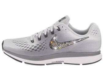 NEW Bling Nike Air Zoom Pegasus 34 Shoes with Swarovski Crystals   Pure  Platinum   Cool Grey a31850e2f