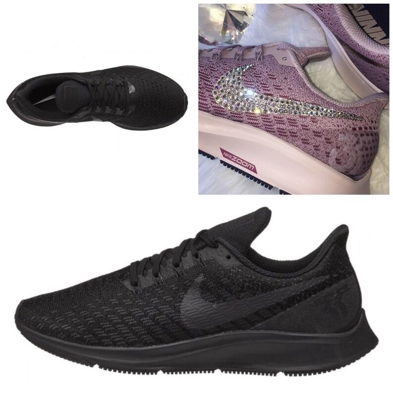 b9cf053685c2d NEW Bling Nike Air Zoom Pegasus 35 Shoes with Swarovski Crystals * Black