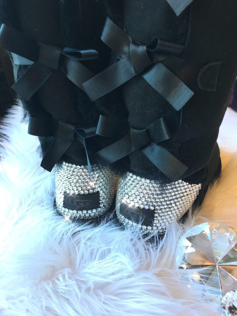 74389fb8faa Bling Ugg Bailey Bow Tall II Boots - Black customized by hand with  SWAROVSKI® Xirius Rose-Cut Crystals Handmade by MyBlingThingz