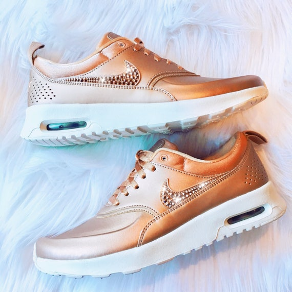 best service 38f1a 1eb1b Rose Gold Bling Nike Air Max Thea Premium Metallic Shoes with   Etsy