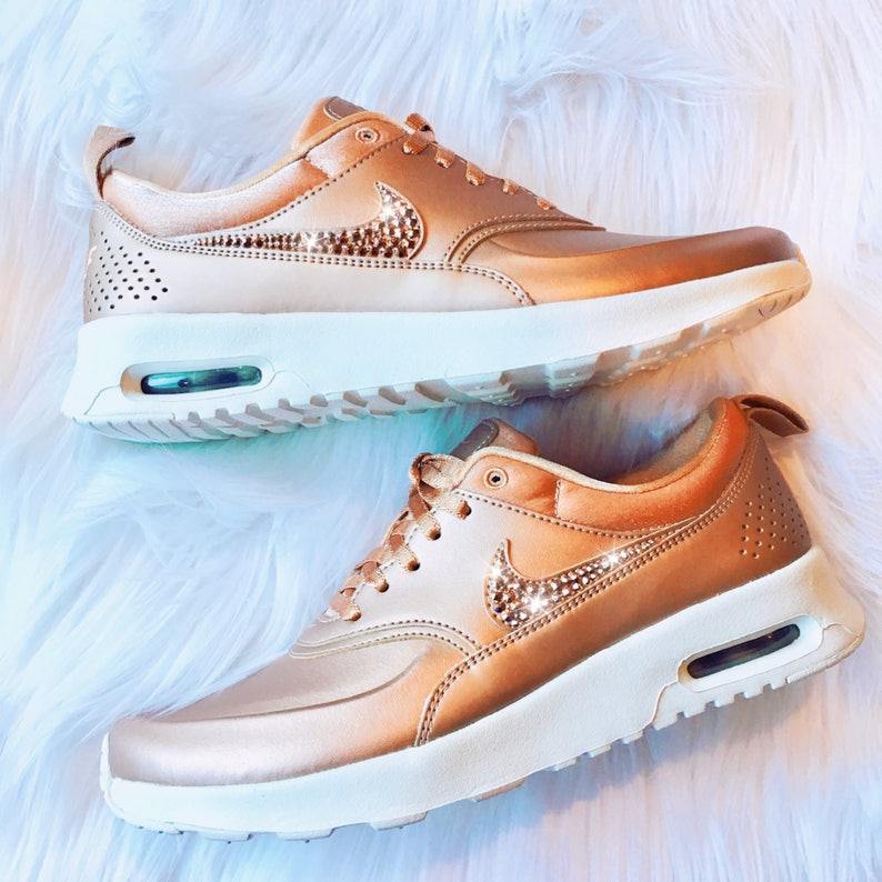 eb3a88d6dd91 Rose Gold Bling Nike Air Max Thea Premium Metallic Shoes with
