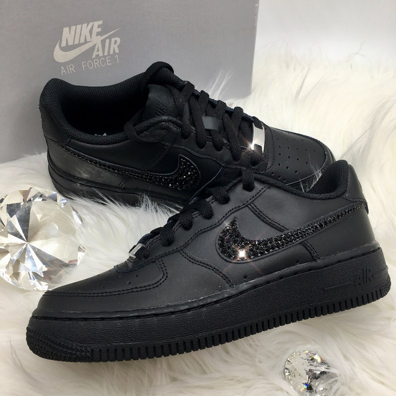 Swarovski Bedazzled W100Authentic Air Force 1 '07 CrystalsBlack Rhinestones With Bling Nike Crystal dWCxQroeEB