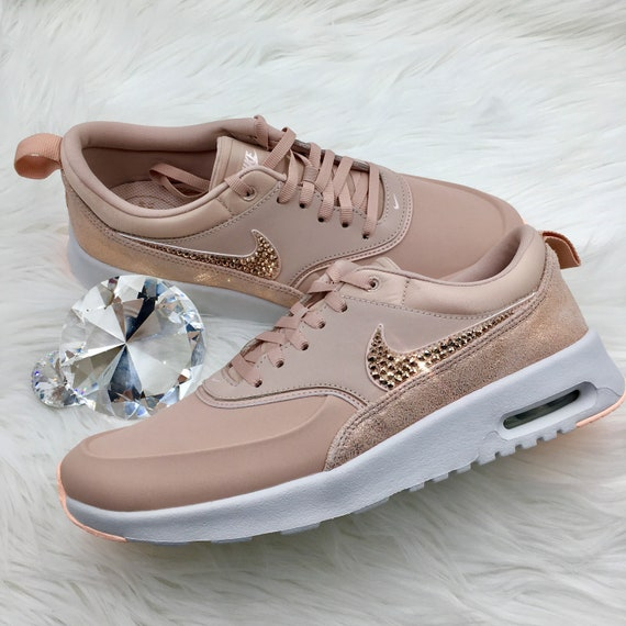 NEW Bling Nike Air Max Thea Premium Shoes with Swarovski Crystals * Particle Pink Rose Gold Copper *