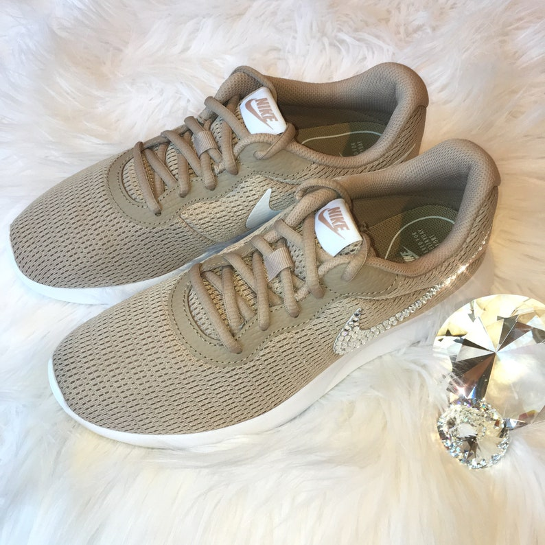Bling Nike Tanjun Shoes with Swarovski Crystal Detail Nude  40989a8d8