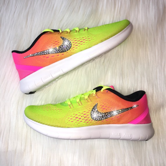 Bling Nike Free RN Shoes with Swarovski Crystals OC Olympic  fcb8c8470483