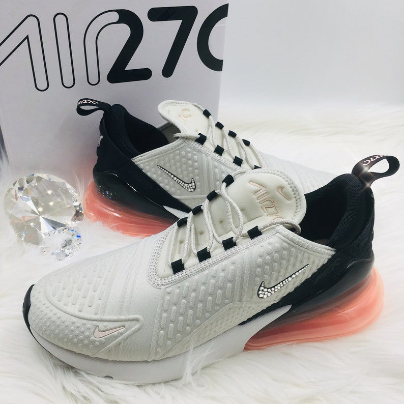 Swarovski Nike Air Max 270 SE Shoes Blinged out with SWAROVSKI® Crystals Bling Nike Shoes in Light Bone & Pink