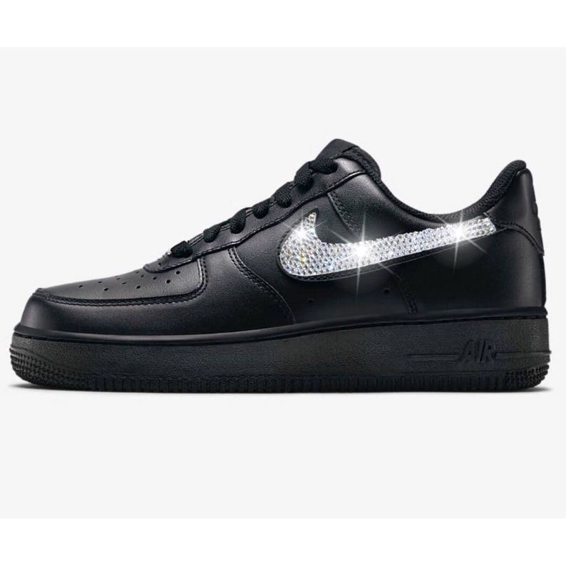 Bling Nike Air Force 1  07 with Swarovski Crystals Black  5f6cfaf89331