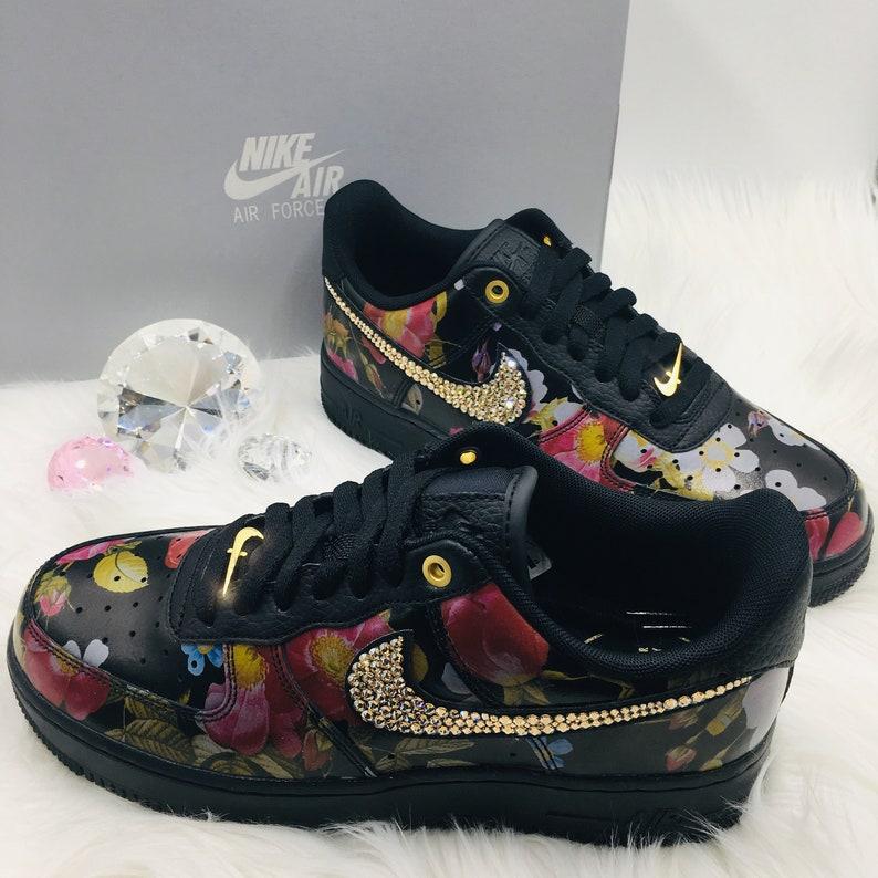 ad8e3cb68004f Bling Nike Air Force 1 '07 LXX with Swarovski Crystals * Black Floral *  Bedazzled w/100% Authentic Swarovski Crystal Rhinestones AF1