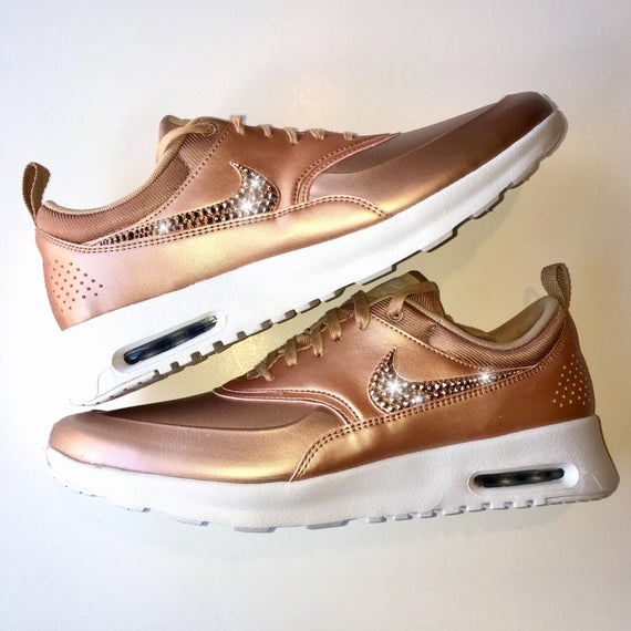 Rose Gold Bling Nike Air Max Thea Metallic SE Shoes with Swarovski Crystals    Bedazzled Rhinestone Swooshes 8ce0b4f62502