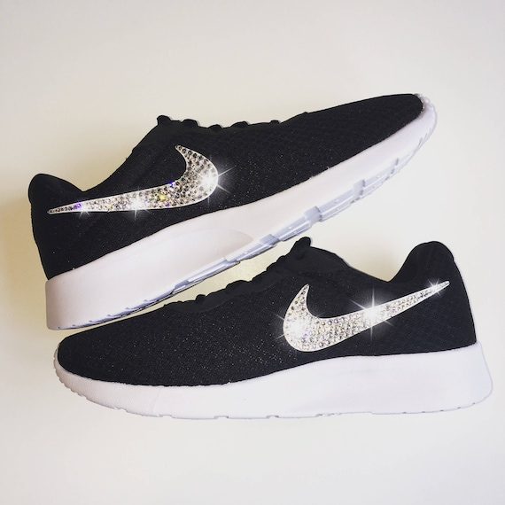 af7b079a7cd45 Bling Nike Tanjun Shoes with Swarovski Crystals * Black & White * Bedazzled  Shoes with Rhinestones