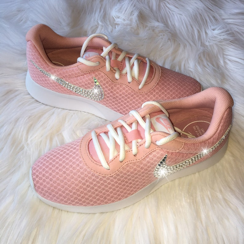 1350a83fa7c33 Bling Nike Tanjun Shoes with Swarovski Crystal Bedazzled Swooshes * Very  Pale Pink / Sheen & White