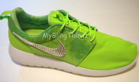 BLING Nike Roshe One Print Shoes w Swarovski Crystals Bedazzled Flash Lime White Menta