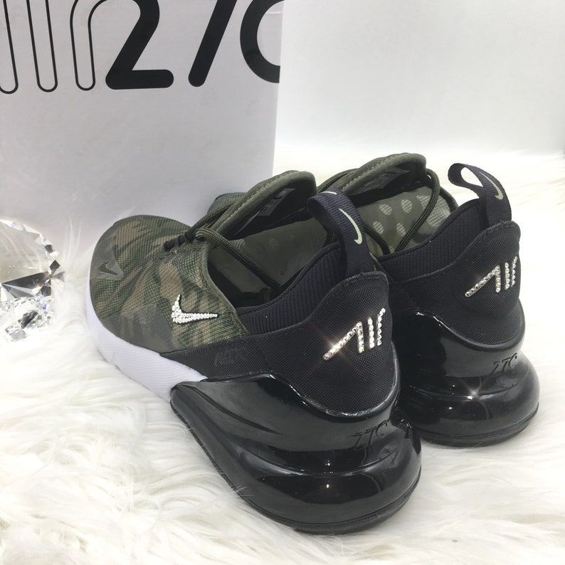 New SIZES added! Swarovski Nike Air Max 270 SE Shoes Blinged out with SWAROVSKI® Crystals Bling Nike Shoes in Cargo Khaki Camo