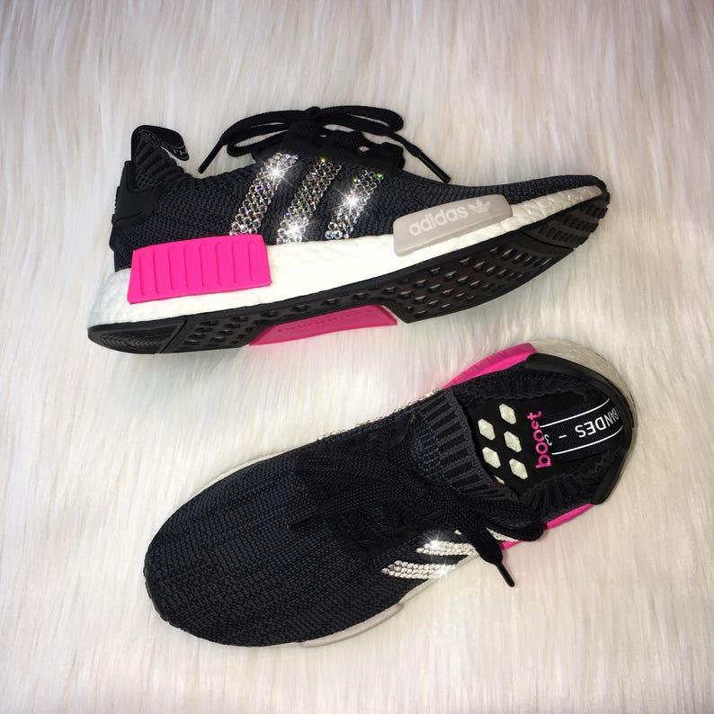 51c7888f00fda Bling Adidas NMD R1 Primeknit with Swarovski Crystal Stripes- Black   Pink  Women s Shoes