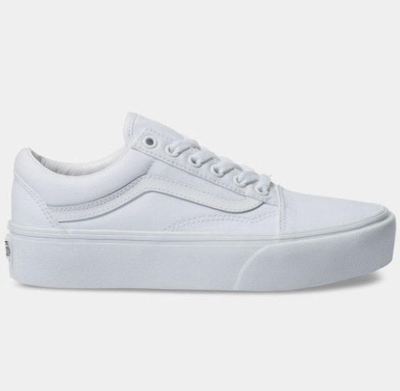 74547786e85bc Swarovski Vans Old School Platform Women's Skate Shoes Blinged out with  SWAROVSKI® Crystals Bling Vans in Classic White