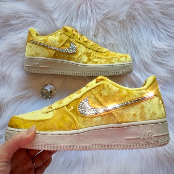 0709e2350e6ea Bling Nike Air Force 1 LV8 Velvet Shoes with Swarovski Crystal Bedazzled  Swooshes * Mineral Gold