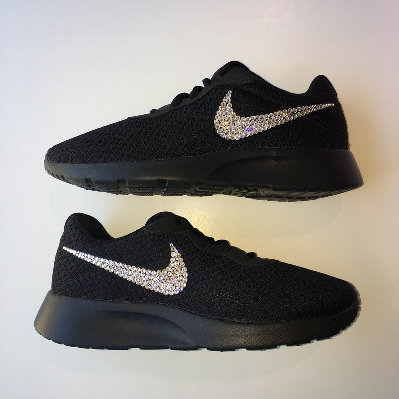 100% authentic f1e94 19383 Bling Nike Tanjun Shoes with Swarovski Crystals All Black   Etsy