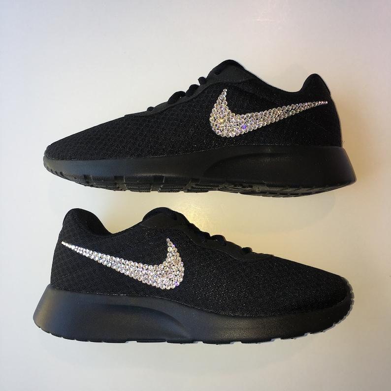 4eb232809dcd Bling Nike Tanjun Shoes with Swarovski Crystals All Black