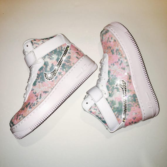 Items similar to Bling Nike Airforce 1 Upstep High LX with Swarovski  Crystals   Cinderella   Sequins   on Etsy e588adefd