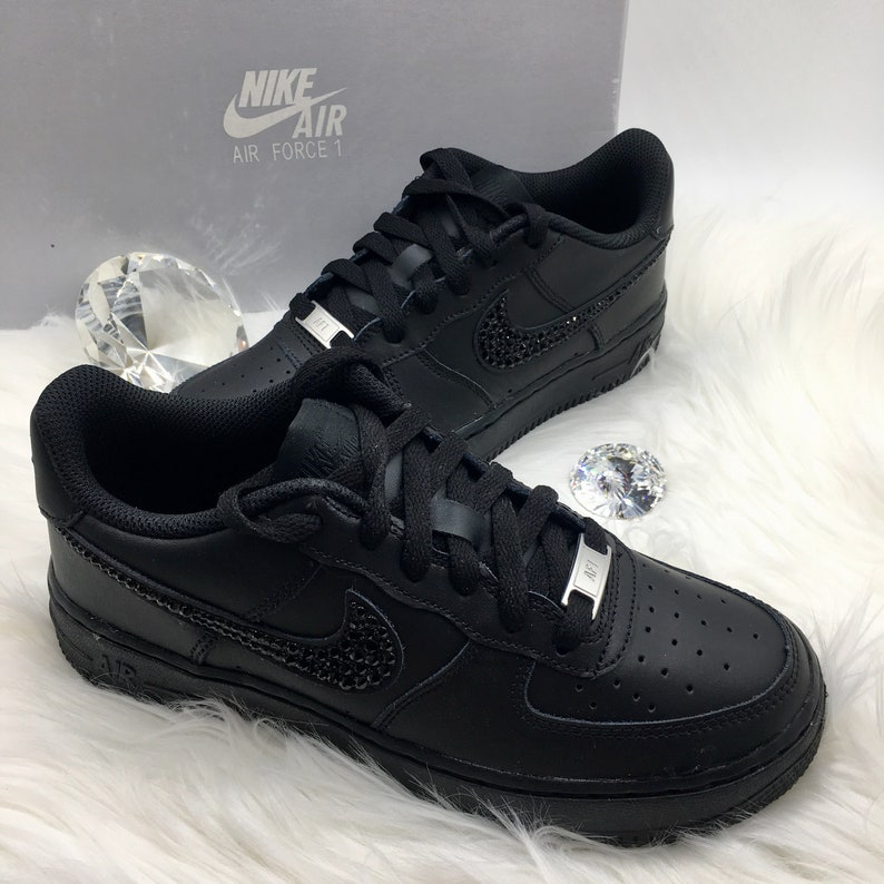 ce69801d9d60a Bling Nike Air Force 1 '07 with Swarovski Crystals * Black * Bedazzled  w/100% Authentic Swarovski Crystal Rhinestones