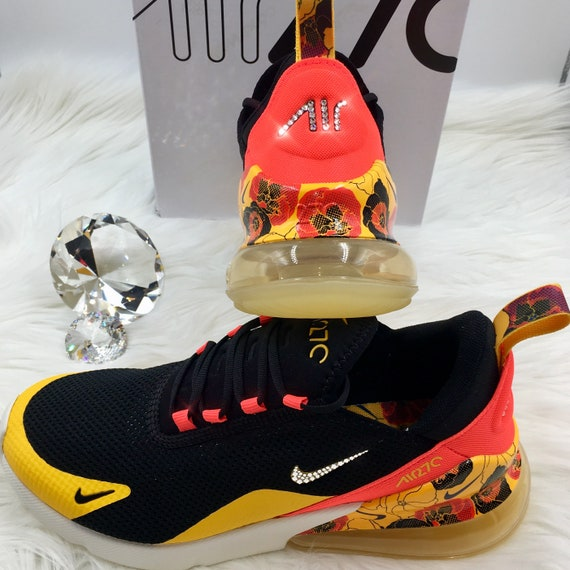 Swarovski Nike Air Max 270 SE Floral Shoes Blinged out with SWAROVSKI® Crystals Bling Nike Shoes in Red Yellow and Black Flower Print *