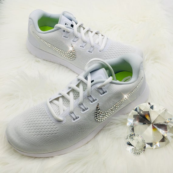 Bling Nike Free RN 2017 Shoes with Swarovski Crystals White  d04eeedf5