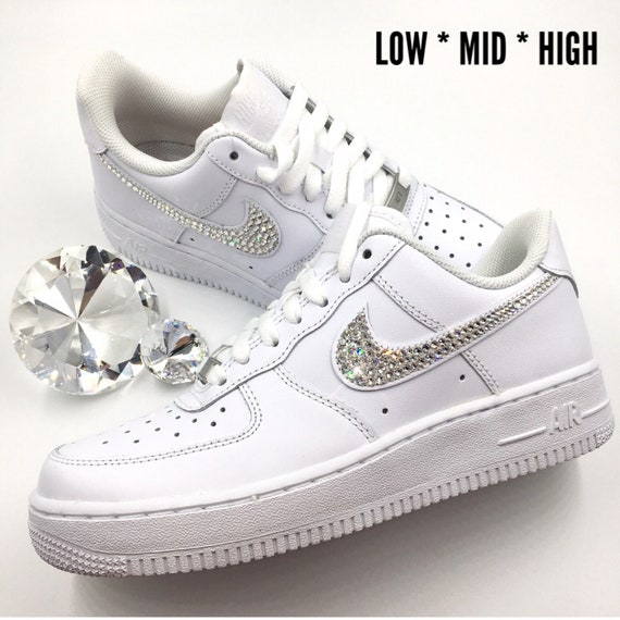 Bling Nike Air Force 1 '07 with Swarovski Crystals * ALL White * Bedazzled w Swarovski Crystal Rhinestones Choose Low Mid or High Nike AF1