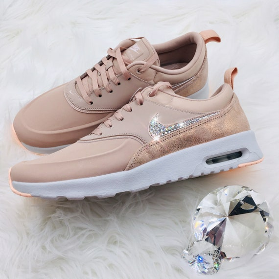 2d69c81237d19 NEW Bling Nike Air Max Thea Premium Shoes with Swarovski Crystals *  Particle Pink / Rose Gold / Copper