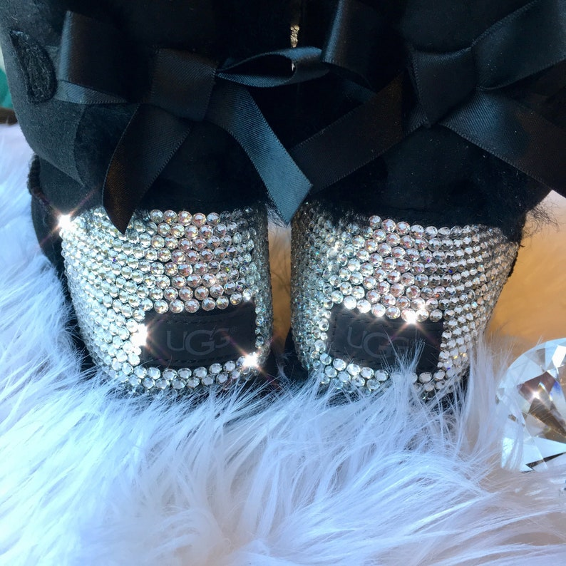 98d236efe0f Bling Ugg Mini Bailey Bow II Boots - Black customized by hand with  SWAROVSKI® Xirius Rose-Cut Crystals Handmade by MyBlingThingz
