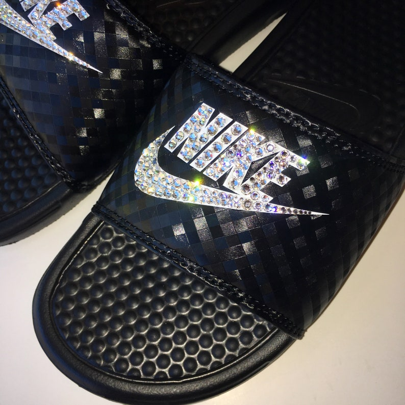 competitive price 96902 a4fc2 NEW Bling Nike Benassi JDI Slides with Swarovski Crystals   Etsy