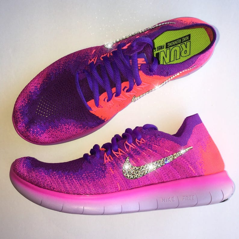 9fe2aa3208ec Bling Nike Free RN Flyknit 2017 Shoes with Swarovski a Crystal