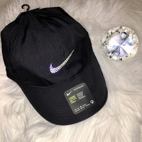 01ddc874d75 Bling Nike Hat with Swarovski Crystal Bedazzled Swoosh BLACK