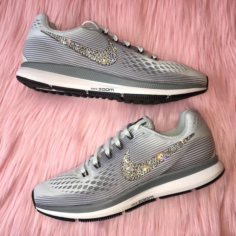 cbdeecf9f7727 Swarovski Bling Nike Air Zoom Pegasus 34 Shoes with Swarovski Crystals *  Pure Platinum / Cool Grey