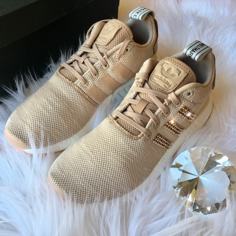 new concept dd6dd d3701 ROSE GOLD Bling Adidas NMD with Swarovski Crystals - Bedazzled Women's  Originals NMD_R2 Runner Casual Shoes