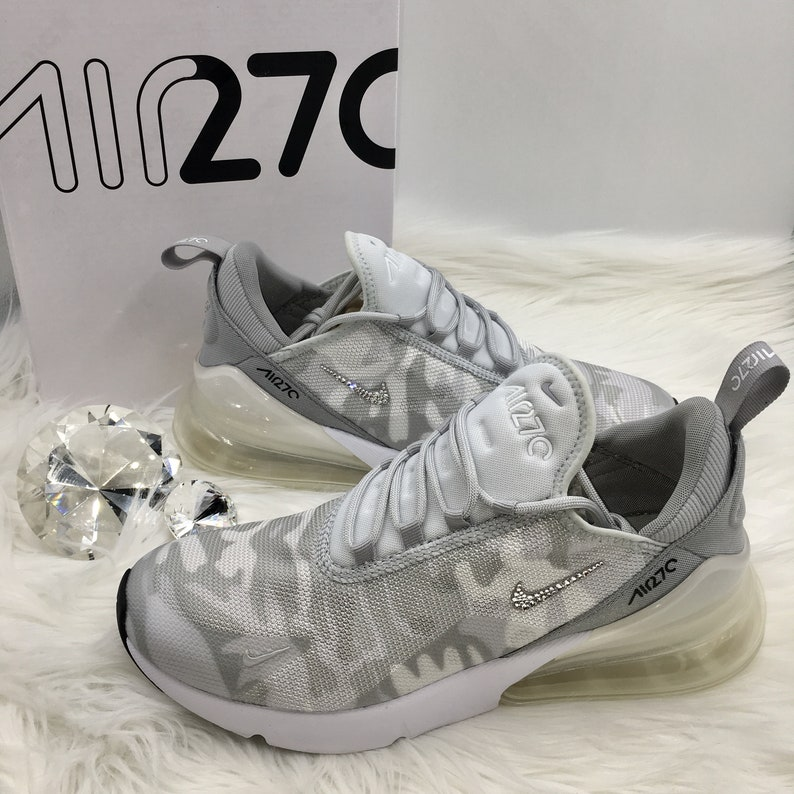Swarovski Nike Air Max 270 SE Shoes Blinged out with SWAROVSKI® Crystals Bling Nike Shoes in Wolf Grey White Camo